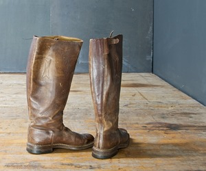 Vintage Tan Leather Knee High Riding Womens Boots Equine
