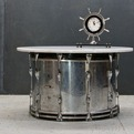 Vitrolite Milk Glass Table Chrome Slingerland Drum Steampunk