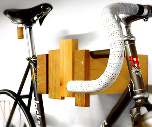 Wall mounted bike rack made from reclaimed wood