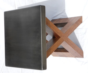 Walnut and Steel End Table