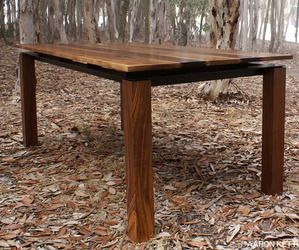 Walnut & Steel table by Aaron Kettl
