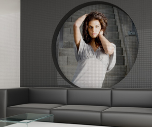 Wide format images on glass mosaic