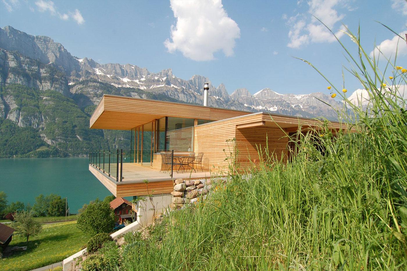 wohnhaus am walensee by k m architektur. Black Bedroom Furniture Sets. Home Design Ideas