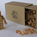 Wooden Lego man by Thibaut Malet