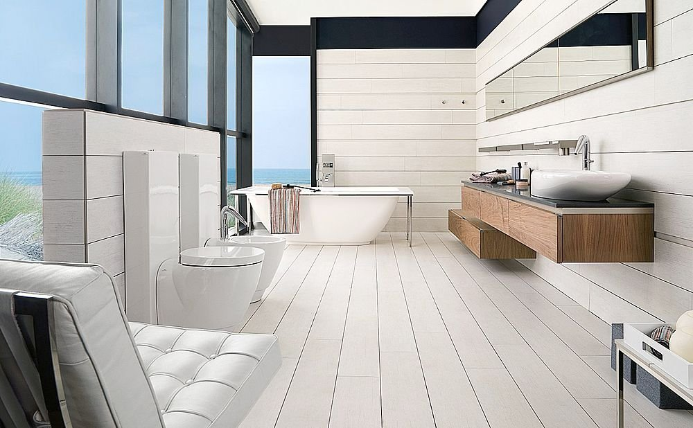 Woodtec porcelain tile from porcelanosa for Porcelanosa salle de bain