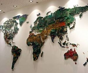 World Map Made of Computer Components