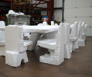 XL Poly Table & 18 Scrap Poly Chairs by Max Lamb