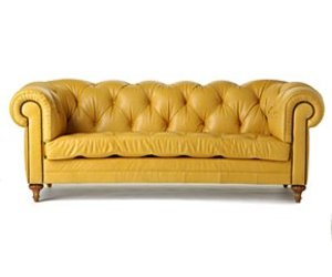 Yellow Leather Chesterfield Sofa